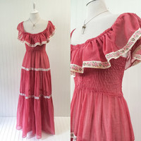 1970s vintage sheer salmon gauze maxi dress off shoulder tiered full sweep boho // floral ribbon tiny fit // size XS S