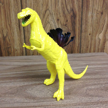 Up-cycled Yellow T-rex Dinosaur Planter