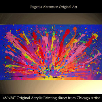 Original Abstract Modern Acrylic Painting on Canvas 48x24 Large Contemporary Fine Art Wall Decor Handmade Artwork by Eugenia Abramson