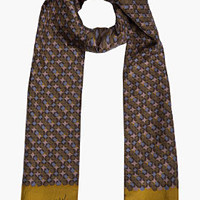 Lanvin Dark Green & Gold Printed Silk Scarf for men | SSENSE