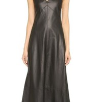 Leather Plunging V-Neck Gown