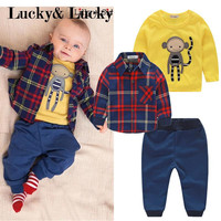 Baby boy clothes monkey cotton t-shirt +plaid outwear+casual pants newborn boy clothes baby clothing set