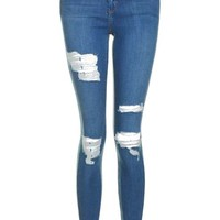 Moto Mid Blue Super Rip Leigh Jeans - Jeans - Clothing