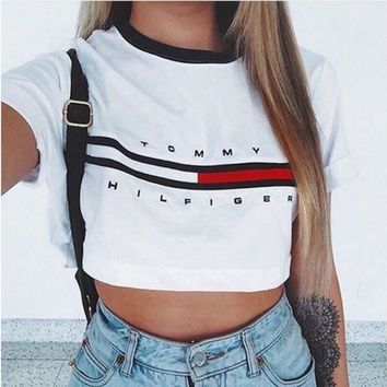 """White """"Tommy Hilfiger"""" Letter and Logo Print T-Shirt"""