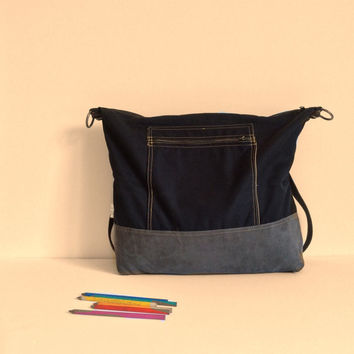 Vegan black backpack,canvas backpack, laptop backpack,student backpack,school backpack,fashion backpack,black and gray bag,Convertible bag