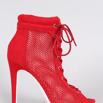 Anne Michelle Mesh Lace Up Lug Sole Booties