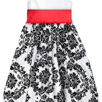White Taffeta & Black Velvet Girls Dress w. Red Sash 2T-12