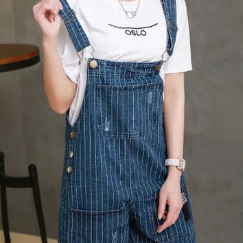 Blue Preppy Pockets Design Striped Denim Overall