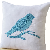 Decorative Throw Pillows Blue Bird Embroidered on White Linen - White Linen Sofa Pillow - Bird Pillow - Couch Cushion- Accent pillows- 16x16