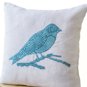 Pillow Case with Blue Bird Embroidered on White Linen -Blue White Linen Embroidery Pillow- Bird Pillow- 20x20 Cushion- Decorative Pillows