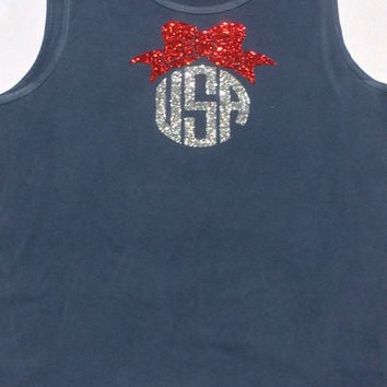 Comfort Colors Glitter Monogram Tank Top, Swimsuit Coverup, Monogrammed Tank, Anchor, Bow, Red, White, Blue Glitter Monogram Tank Top