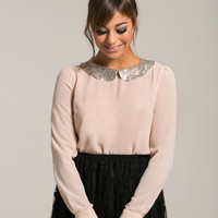 Flora Sequin Collar Pink Blouse