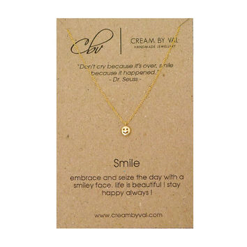 Gold Smiley Face Necklace-Smile Necklace Inspirational Gift Ideas Meaningful Message Jewelry Christmas Gift Dr Seuss Quote Stay Happy Daily