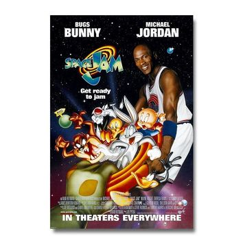 Space Jam 1996 Classic Movie Poster Michael Jordan Wall Art Silk Print 12x18 24x36 inch Wall Pictures for Living Room Decoration