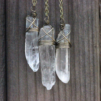 Raw Crystal Necklace Bohemian Necklace Boho Necklace Long Necklace Long Crystal Necklace Quartz Crystal Jewelry Healing Crystals and Stones