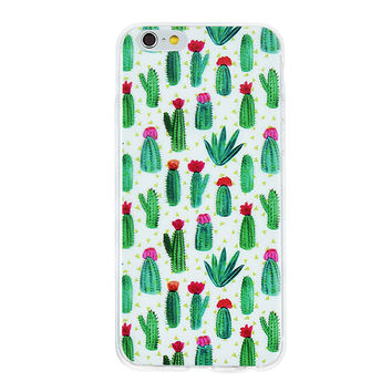 Cactus Collage Dense Soft Silicone TPU Clear Transparent Phone Back Case Cover for iPhone 5 5s 6 6s 7 7 Plus