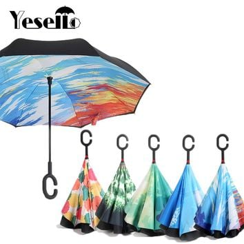 Yesello Starry Sky Anti UV Inverted Umbrella Reverse Folding Double Layer Guarda Chuva Self Stand Inside Out Sunny Rain