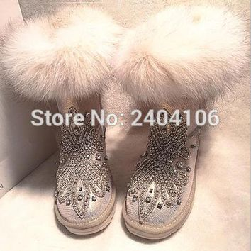 Handmade Australian Fur Inside Warm Winter Snow Boots Rhinestone Crystal Ankle Booties Casual Flat Platform Fashion Botas Mujer