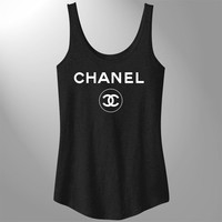 Chanel - Flowy Tank Black with White Chanel2