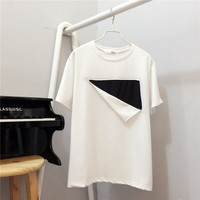 Korean Style Short Sleeve T-shirt Loose Women T Shirt Summer New O-neck Personality White/Black Hit Color Tops 71185 GS