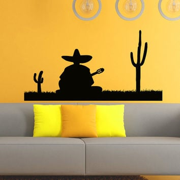 Wall Vinyl Decals Silhouette Mexican Man Playing Guitar Decal Sticker Home Decor Art Mural Z543