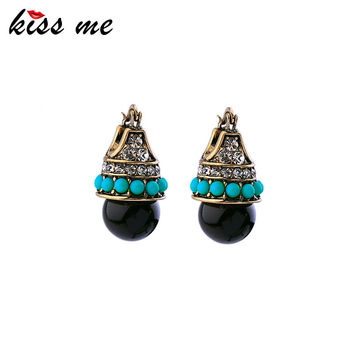 KISS ME Women Bijoux Vintage Stud Earring Acrylic Pierced Accessories Antique Gold Plated Blue Earring Jewelry
