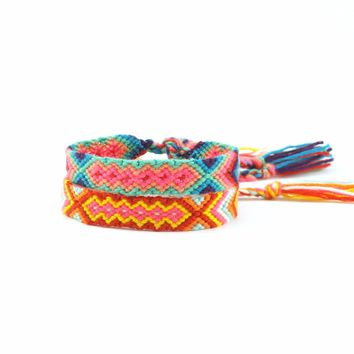 Handmade Friendship Bracelets Adjustable Wrap Cotton Mix-Color Woven Trendy Rope String