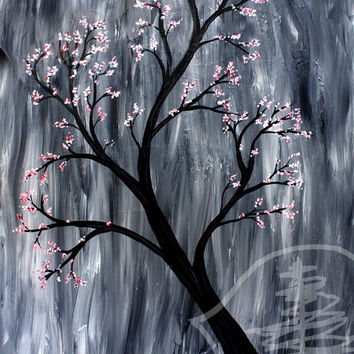 Spring Painting- Blossoms- rain- tree painting- tree art- large- original 16x20
