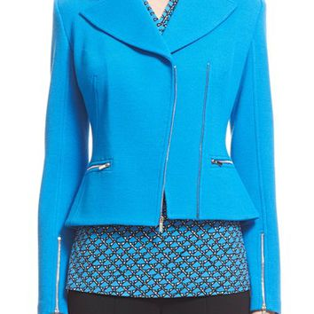 St. John Collection Milano Piqué Knit Moto Jacket | Nordstrom