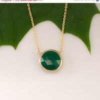 CLEARANCE - Green Onyx Necklace - 14k Gold Filled Chain - bezel set necklace - gemstone necklace - Gold necklace -