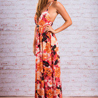 On Fire Floral Maxi Dress, Red