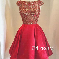 Red sequin round neckline Short Prom Dress, Homecoming Dress
