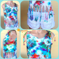 Tie Dye Tshirt, Tie Dye Tank Top, Dyed Shirt, Fringed Summer Shirt, Tie Dye Bikini Cover, Bohemian Multi Color Shirt