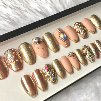 Rose Gold Swarovski Press on Nails | Chrome | Matte Nude | Glitter Tip | AB Crystals | False Nails | Custom Shapes Sizes