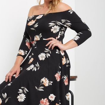 Maury Floral Off the Shoulder Fit and Flare Dress