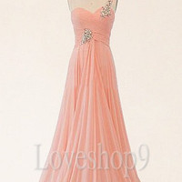 Elegant Long One Shoulder Pink Chiffon Bridesmaid Dresses Prom Dresses Evening Dresses Formal Party Occasions Wedding Events 2014