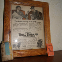 Vintage BULL DURHAM Ad Plus Bull Durham Original Tobacco And Papers Sample Print is 1915 And Tobacco Sample Is 1940s