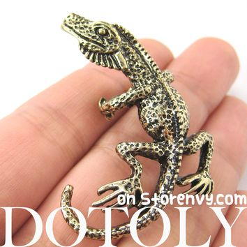 Iguana Chameleon Lizard Realistic Animal Wrap Ear Cuff in Brass