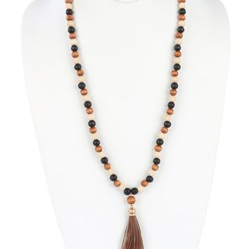 Mulit Color Faux Leather Tassel Wooden Bead Necklace
