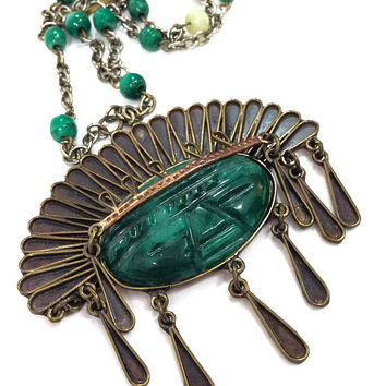 Mexican Statement Necklace, Tribal / Aztec Mask Pendant Necklace, Bronze Gold & Green, Large Pendant, Boho Jewelry, 1960s, Vintage Jewelry