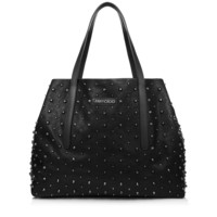 Black Leather Tote Bag with Gunmetal Studs | Sara L | Pre Fall 14 | JIMMY CHOO Totes