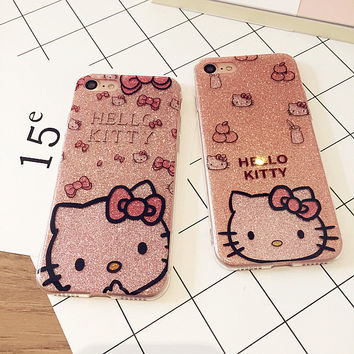 Bling Glitter Powder Cartoon Hello Kitty Case For iPhone 6S 6 Plus 7 7 plus Shining Back Cover Protective Phone Cases Fundas