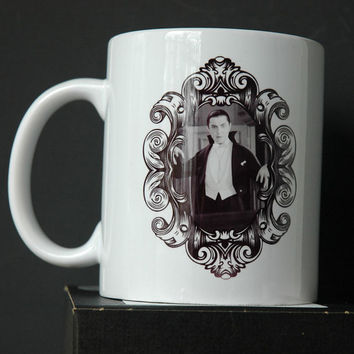 Dracula Cameo Printed Ceramic Mug 11 or 15 ounce Dark Decor Gothic Housewares