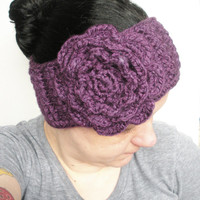 Dark Purple Crochet Headband Ear Warmer with Extra Large Rose, ready to ship.