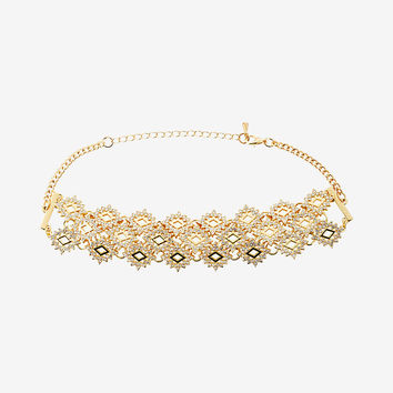 Geometric Pave Choker Necklace
