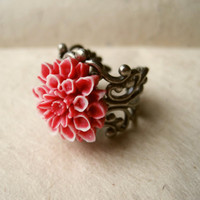 Red Dahlia Flower Adjustable Silver Filigree Ring by PiggleAndPop