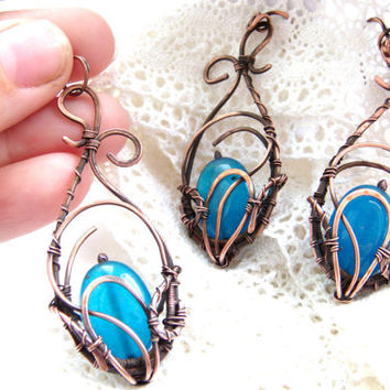 Copper Wire Wrapped  set jewelry FREE SHIPPING, Topaz, earrings, pendant.
