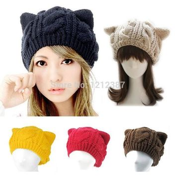 ESBU3C Fashion Lady Girls Winter Warm Knitting Wool Cat Ear Beanie Ski Hat Cap HB88