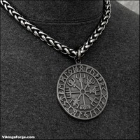 Large Viking Compass on Antiqued Viking Braid Chain Necklace