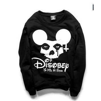 East Knitting G10 NEW 2017 women's sweatshirts harajuku cartoon print hoodies Skull cross head pullovers  S M L